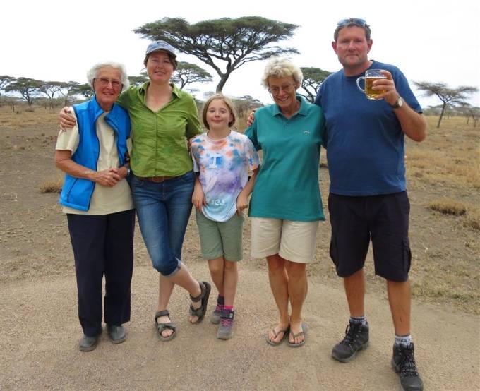 Margaret, Louise, Emily, Aadjeand Paul; back together at Ndutu.