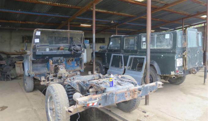 Landrover TZ stripped down ready to receive parts donated by Bessie.