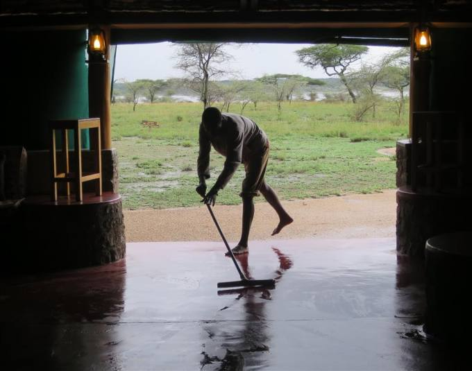 Staff were kept busy mopping up the flood waters.